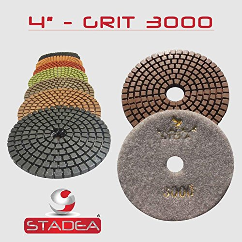 Diamond Disc Floor (4 Inch Diamond Polishing Pads Discs for Concrete Granite Marble Glass Stone Polishing by STADEA, Grit 3000 - 5 Pieces)