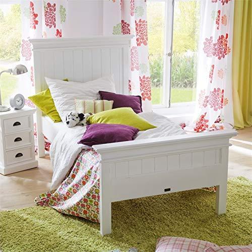 NovaSolo Halifax Pure White Mahogany Wood Platform Twin Bed With Slats