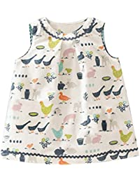 Fiream Girls Casual Cotton Print Sleeveless Dress