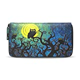 Womens Wallets Watercolor Owl Bird Mooon Clutch Purse Passport Zipper Handbag