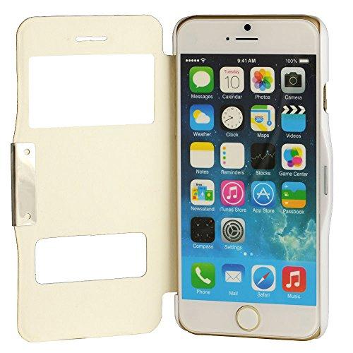 N68- Flipcasse für Apple iPhone 6 Plus ( 5,5 Zoll ) / Windows View / Smart Touch / Sichtfenster / Schutzhülle in Weiß