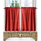 Ellis Curtain Stacey Tailored Tier Pair Curtains, 56-Inch x 45-Inch, Red