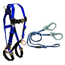 FallTech CMB1759Y3L Combo Kit - 7017 Harness, 8259Y3L Looped Lanyard, Blue/Black