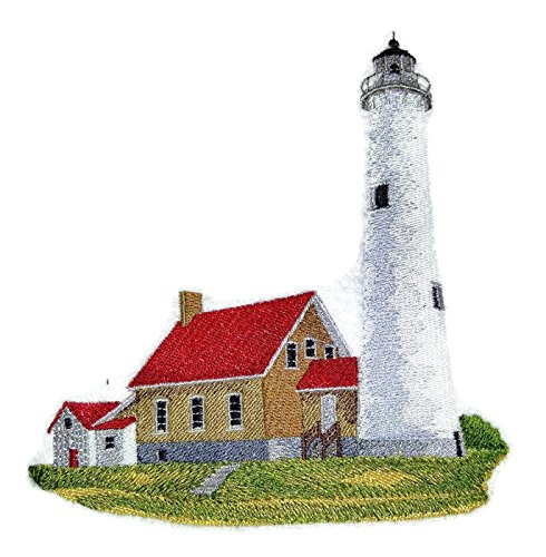 Custom and Unique Lighthouse[Tawas Point Lighthouse] Embroidered Iron on/Sew patch [6.2