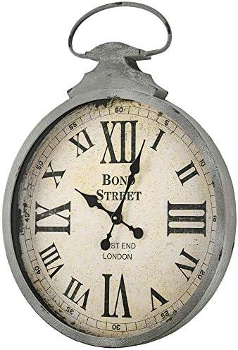 American Art Decor Bond Street West End London Oversized Vintage Antique Metal Pocket Watch Wall Clock 28″