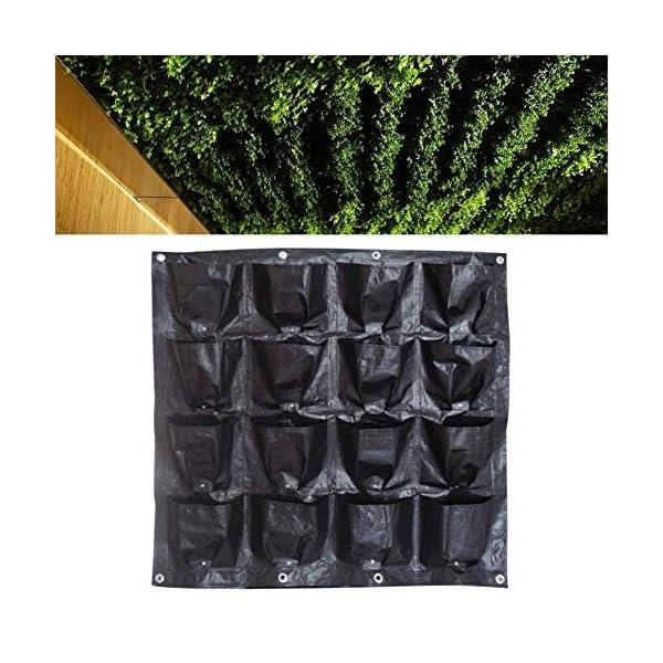 Borsa per piante Black Wall colore pensili Piantare Borse 16 tasche coltiva il sacchetto Planter verticale Orto Living… 4 spesavip