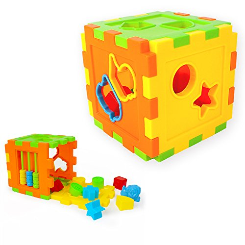 Mideand Baby Blocks Shape Sorter Toy Shape Sorting Cube Color Recognition Shape Toys with Colorful Sorter Cube Box Non-Toxic Plastic Building Blocks for Toddlers