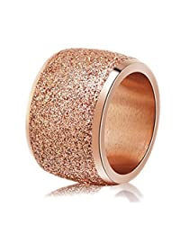 Tuji Frosted Ring Rose-Gold-Color Stainless Steel Women Wedding Engagement  Ring 854f17213d8c