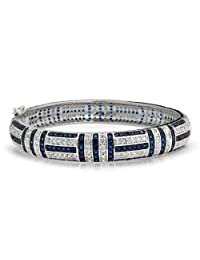 Bling Jewelry Simulated Sapphire CZ Bangle Bracelet 7in Rhodium Plated
