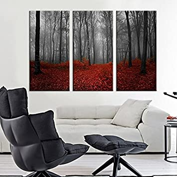Canvas Large Art Print Dark Forest, Red Forest Large Wall Art Print, Extra  Large Part 84