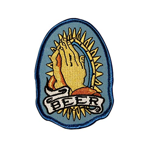 Praying Hands for Beer Embroidered iron on Patch