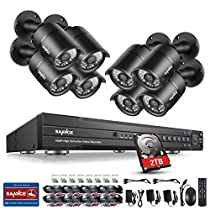 SANNCE 1080P 16CH Video Security System with 2TB Hard Drive and (8) HD 1080P Bullet Cameras with IP66 Weatherproof Housing, 100ft IR LED Night Vision, Motion Detection