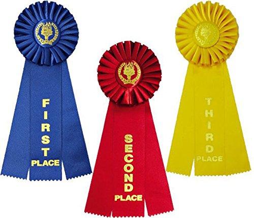 Award Rosette Ribbon Set 1st, 2nd, 3rd [1 of each = 3 total ribbons]