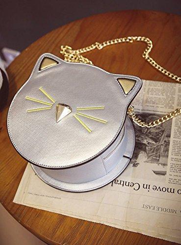 Tote Face Bag Women's Cute Cross Body Round Handbag PU Cat Sliver Wallet Shoulder Satchel QZUnique n7BYqwCB