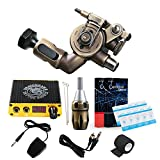 Dragonhawk Extreme X2 Brass Rotary Tattoo Machine RCA Connected 20pcs Mast Cartridges with Brass Cartridge Grip for Tattoo Artists 099 (X2+Cartridges)