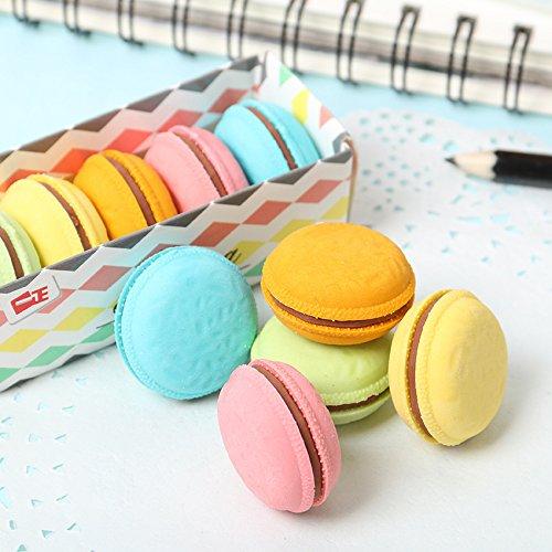 mat/ériel scolaire biscuit nourriture /école takestop Lot de 5 gommes en caoutchouc en forme de macaron g/âteau gadget kawaii papeterie
