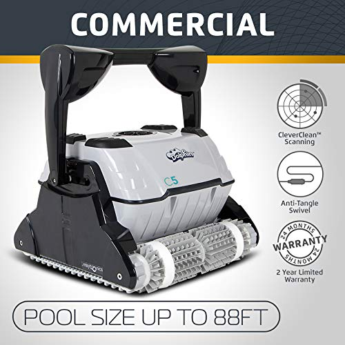 (Dolphin C5 Commercial Robotic Pool Cleaner with High-Capacity Filtration and Powerful, Dual Scrubbing Brushes, Ideal for Commercial Swimming Pools up to 88 Feet.)