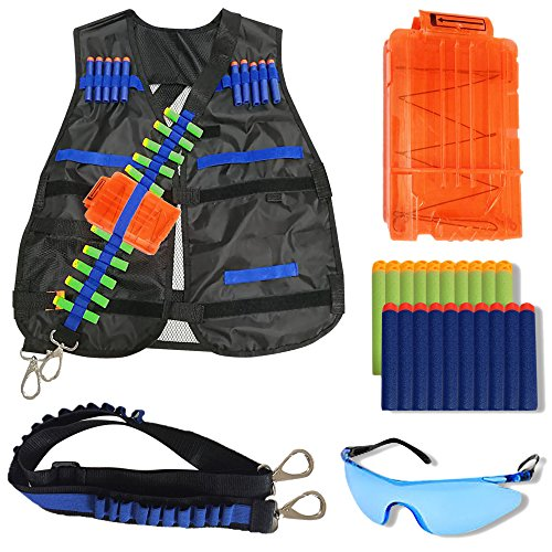 Time Impact Mag (FullyLoaded Tactical Vest for kids for Nerf Guns N -Strike Elite Series. Nerf Accessories Kit - Darts, Safety Eye Glasses, Bandolier ( Sling ), Adjustable Vest Jacket, Reload Clip for Ammo Storage)
