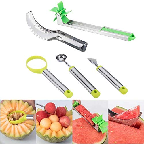 (Watermelon Windmill Cutter 5 Pack, Stainless Steel Watermelon Slicer, Fruit Slicer Carving Kit, Fruit Scoop Dig Pulp Separator,Melon Baller Scoop Tool,Melon Cuber Knife)