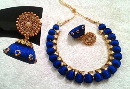 f6583ff9db1fa Royal blue silk thread wrapped necklace set with antique bails in ...
