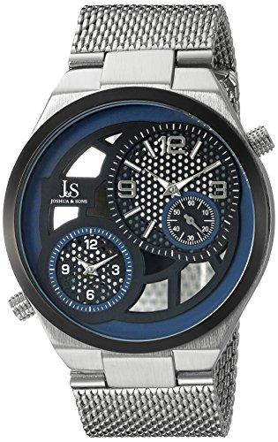 Joshua & Sons Men's JX111SSBU Black Dual Time Zone Quartz Watch with Black and Blue See Thru Dial and Silver Mesh Bracelet
