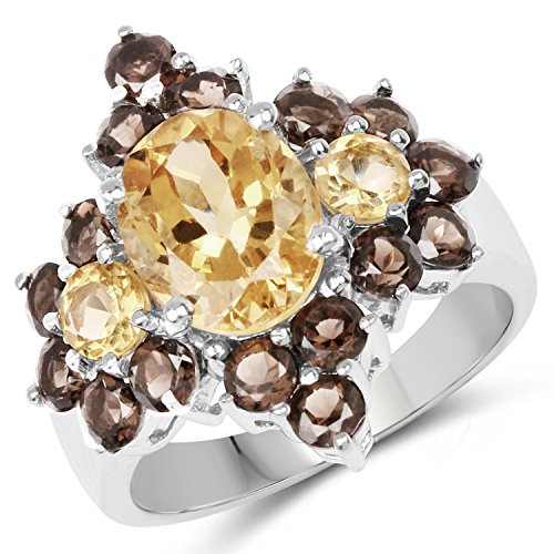 (Citrine and Smoky Topaz .925 Sterling Silver Cluster Ring for Women 4.80ctw. from Johareez)