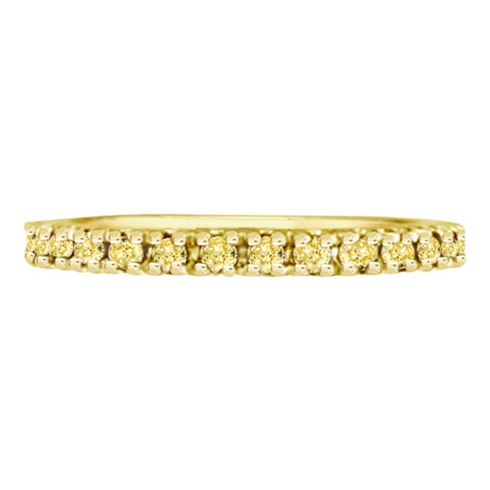 Fancy Yellow Canary Diamond Eternity Ring Band 14K Yellow Gold (0.51ct) by Allurez (Image #3)