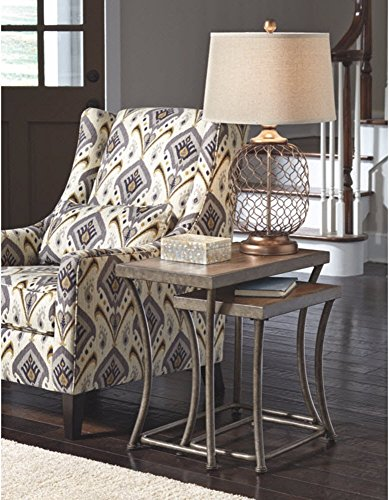 Ashley Furniture Signature Design - Nesting End Table Set - Rustic Mix of Metal and Wood - Vintage Casual - Set of 2 - Light Brown by Signature Design by Ashley (Image #3)