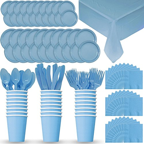 Party Supply Pack for 24 - Light Blue - 2 Size plates, Cups, Napkins , Cutlery (Spoons, Forks, Knives), and tablecovers