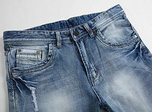 La De Hombres Estiramiento Vendimia Vaqueros Rectos Pantalones Cuello Flaco con Pantalones con De De Azul Mezclilla Ajustados Central del Ocio Pantalones Vaqueros Los Fit Cremallera Jeans Slim 8qwSrX8