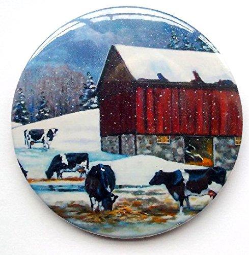 Fridge Magnet: 3.5', Holstein Cows in Winter, Painting, Farm Scene, Snow