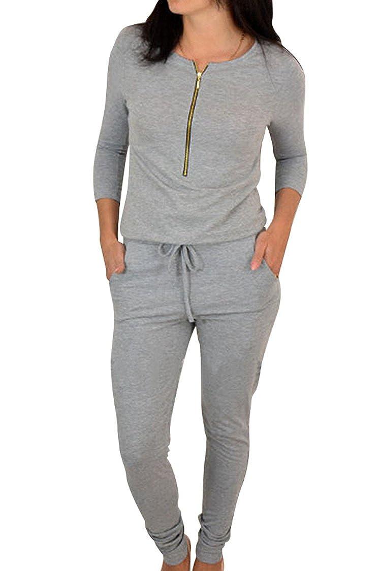 Fixmatti Women Fashion 3/4 Sleeve Zip up Drawstring Long Romper Jumpsuit FM-JP194