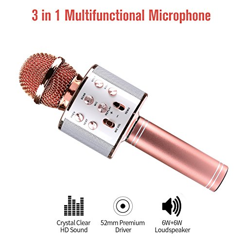 Wireless Bluetooth Karaoke Microphone, Portable Handheld Mic Built-in Speaker With Multi-function Professional Classic-style Karaoke Player for iPhone/Android/Smartphone, Home Party KTV, Outdoor(Gold) by Keybright
