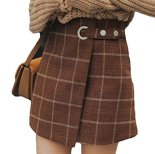 LULULADY Women's Retro High Waist Wool Blend Plaid A-Line Mini Skirt