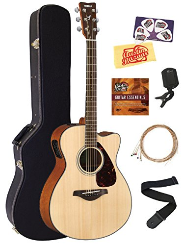 Yamaha FSX800C Small Body Acoustic-Electric Guitar Bundle with Hard Case, Tuner, Strap, Instructional DVD, Strings, Picks, and Polishing Cloth – Natural