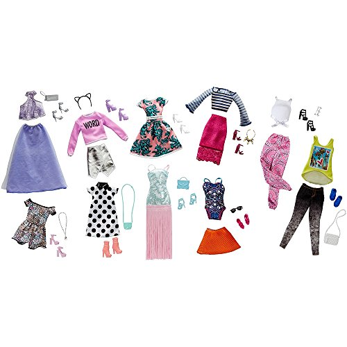 Price comparison product image Barbie Pink Passport Fashion Doll Outfits - 10 Pack