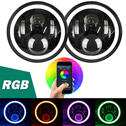 Aukmak 7 inch LED Headlights RGB Halo Ring Angel Eyes 7