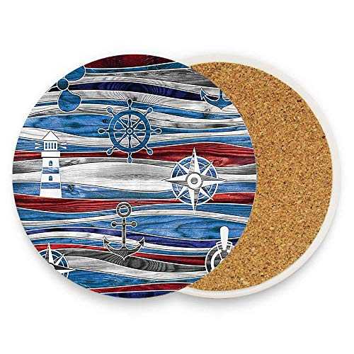 keyishangmaoLu Shipping Boat Anchor Lighthouse Steering Wheel Compass Waves BackgImage Coaster Ceramic Cork Trivet Heat Resistant Hot Pads Table Cup Mat Coaster 1 Piece