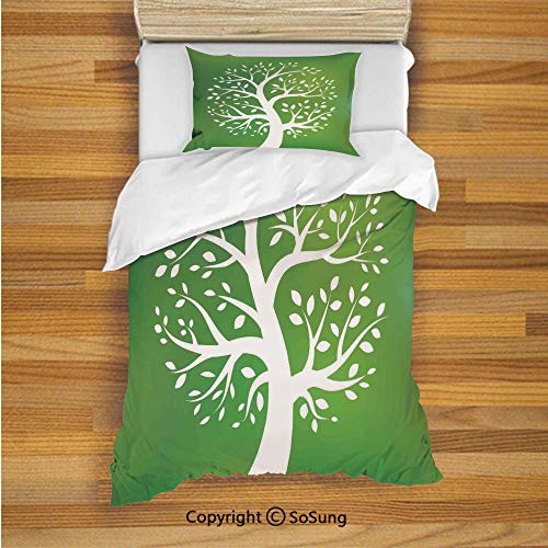 SoSung Tree of Life Kids Duvet Cover Set Twin Size, Green Decor Tree Art Plant Environment Ecology Climate Nature Illustration 2 Piece Bedding Set with 1 Pillow Sham,Green White