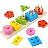 Toyssa Wooden Educational Early Teaching Shape Sorter Toys for 3 Year Old Boys Girls Shape Color Recognition Geometric Blocks Stacking Chunky Puzzle
