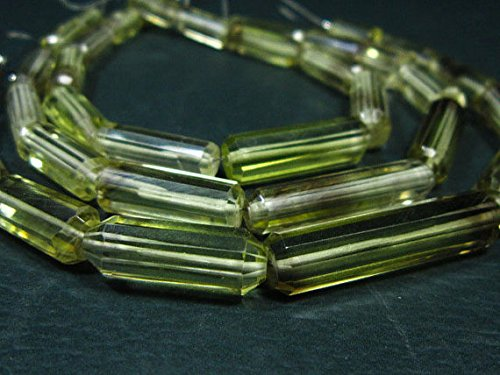Focal Barrel (AA-Bi Lemon Quartz Faceted Barrel Shape Briolette- 8
