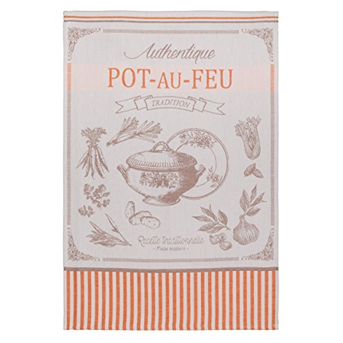 COUCKE French Cotton Jacquard Towel French Gourmet Collection, Pot Au Feu (Food Tureen), 20-Inches by 30-Inches, Red and Tan