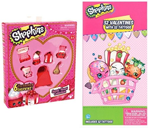 Shopkins Valentine's Day Gift Set - Sweetheart Collection AND 32 Valentine's Day Cards with Tattoos