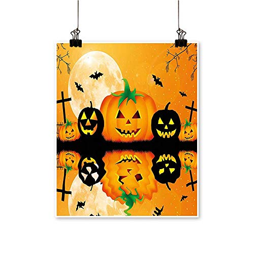 Modern Painting Spooky Carved Halloween Pumpkin Full Moon with Bats and Grave by Lake Artwork for Home Decorations,20