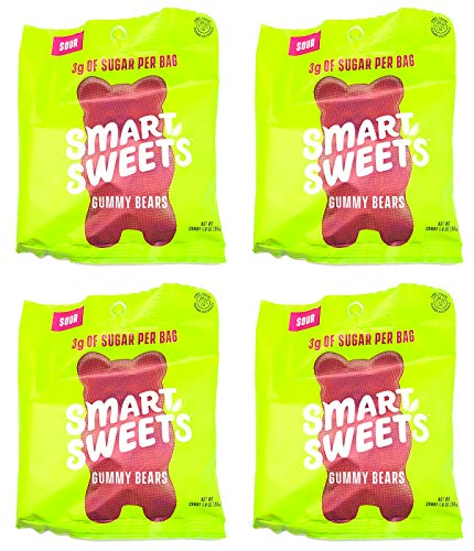 Keto-Friendly, Stevia Sweetened Fruity Gummy Bears, Sour Gummy Bears, Low Sugar, Low Carbs Pack of 4 (1.8 Ounce)