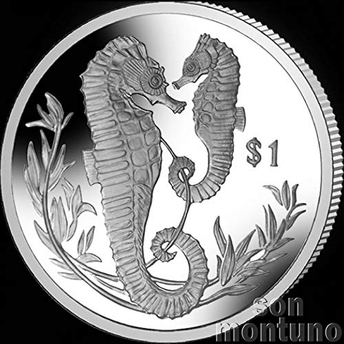 SEAHORSE - 2017 British Virgin Islands $1 Uncirculated Cupro Nickel One Dollar Coin - Limited Mintage of Only 10,000 Pieces