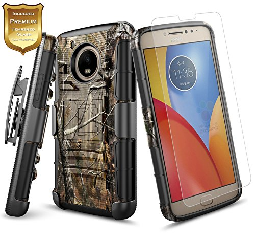 Moto E4 Case w/[Tempered Glass Screen Protector] NageBee Belt Clip Holster Defender Heavy Duty Shock Proof Kickstand Combo Rugged Armor Durable Ultra Protection Case for Motorola Moto E 4th Gen -Camo