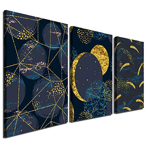 Gardenia Art-Abstract Geometric Moon Canvas Wall Art Modern Minimalist Painting Decorations for Bedroom Wall Decor 12x16 inch/Piece,3 Panels,Stretched and Framed