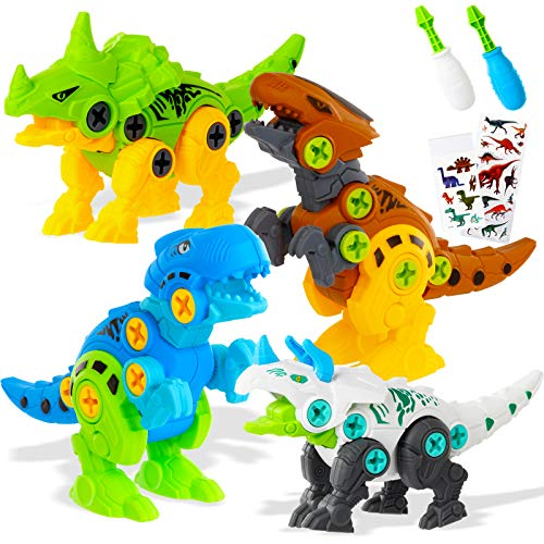 Take Apart Dinosaur Toys for Kids-Dinosaur Building Toy with Screwdriver Tools Interlocking STEM Educational Building Construction Kit for Preschool, Kindergarten, Boys & Girls Age 3+