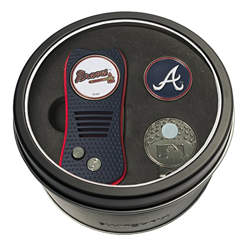 Team Golf MLB Atlanta Braves Gift Set Switchfix Divot Tool, Cap Clip, & 2 Double-Sided Enamel Ball Markers, Patented Design, Less Damage to Greens, Switchblade Mechanism
